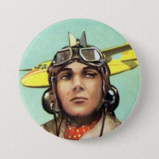 Vintage Aviator Print Button