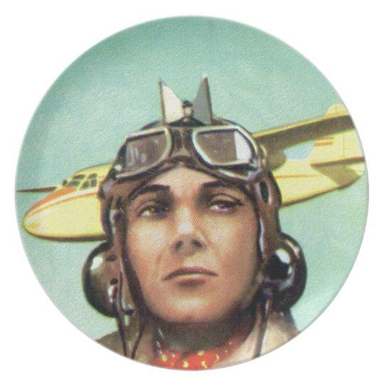 Vintage Aviator Print Dinner Plate