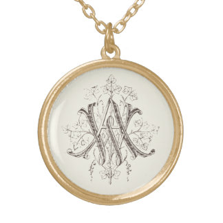 Vintage AW Monogram WA Gold Plated Necklace