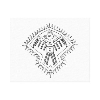 Vintage aztec style bird jagged drawing.png canvas print