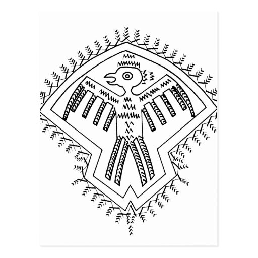Vintage aztec style bird jagged drawing.png postcard