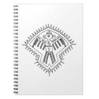 Vintage aztec style bird jagged drawing.png spiral notebook