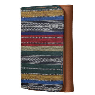 Vintage Aztec Tribal Andes Pattern Fabric Look Leather Wallets