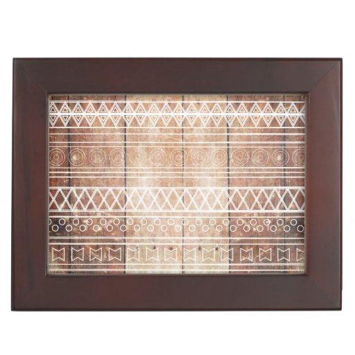 Vintage Aztec Tribal Wood Keepsake Box