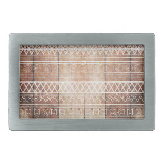 Vintage Aztec Tribal Wood Rectangular Belt Buckle