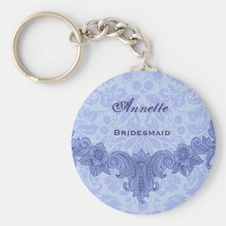 Vintage azul B030 del favor del boda de la dama de Llavero Redondo Tipo Pin