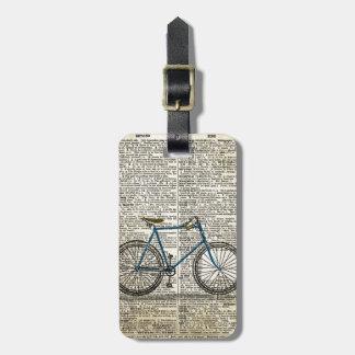 Vintage azul de la bici de la bicicleta de la impr etiquetas de equipaje
