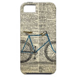 Vintage azul de la bici de la bicicleta de la impr iPhone 5 fundas
