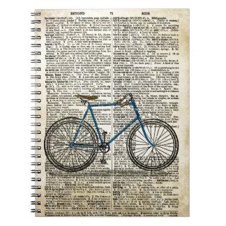 Vintage azul de la bici de la bicicleta de la impr libros de apuntes