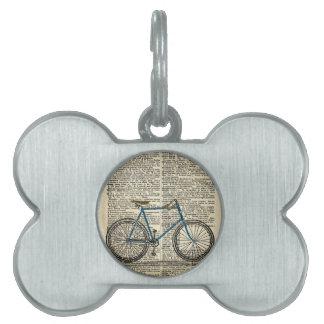 Vintage azul de la bici de la bicicleta de la impr placa de mascota