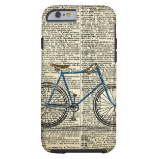 Vintage azul de la bici de la bicicleta del arte funda para iPhone 6 tough