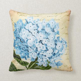Vintage azul de la flor del Hydrangea botánico Cojín