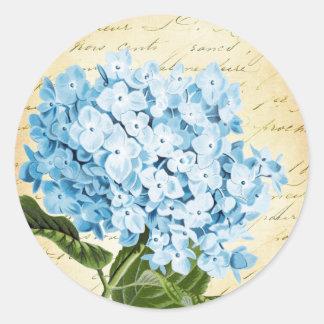 Vintage azul de la flor del Hydrangea botánico Pegatina Redonda