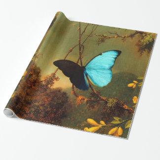 Vintage azul de la mariposa de Martin Johnson Papel De Regalo