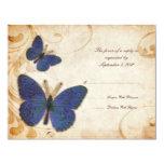 Vintage azul de las mariposas que casa RSVP Invitación 10,8 X 13,9 Cm