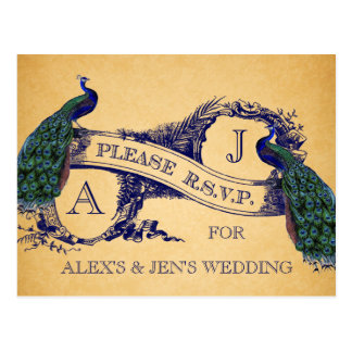 Vintage azul de los pavos reales que casa la tarjeta postal