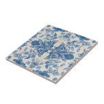 Vintage azul elegante floral azulejo cuadrado pequeño