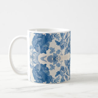 Vintage azul elegante floral taza de café