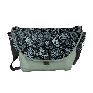 Vintage Azul-Gris y negro Paisley elegante Bolsas De Mensajería