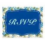 Vintage azul hermoso de la flor de la cala tarjetas postales