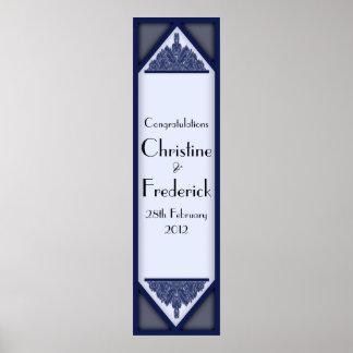 Vintage azul oscuro, bandera vertical decorativa impresiones