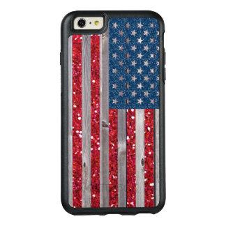 Vintage azul rojo del brillo de la bandera de los funda otterbox para iPhone 6/6s plus
