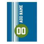 Vintage azul y verde que compite con rayas tarjeta postal