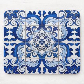 Vintage Azulejo Tile Pattern Mouse Pad