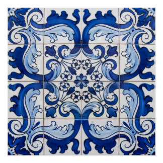 Vintage Azulejo Tile Pattern Poster