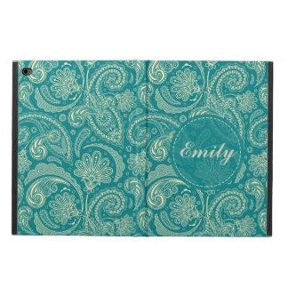 Vintage azulverde y beige Paisley de la nata