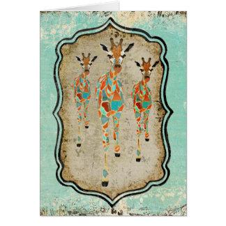 Vintage Azure & Amber Giraffes  Notecard Greeting Cards