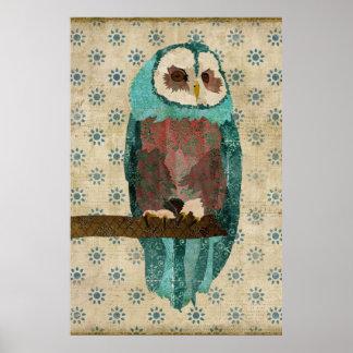 Vintage Azure & Blush Owl Art Poster