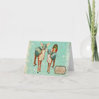 Vintage Azure Deer & Rose Owl Monogram Notecard
