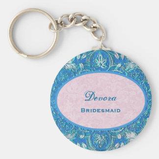 Vintage B031C floral azul del favor del boda de la Llavero Redondo Tipo Pin