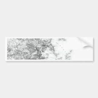 Vintage B&W Map of Boston, Massachusetts Bumper Sticker