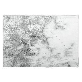 Vintage B&W Map of Boston, Massachusetts Placemat