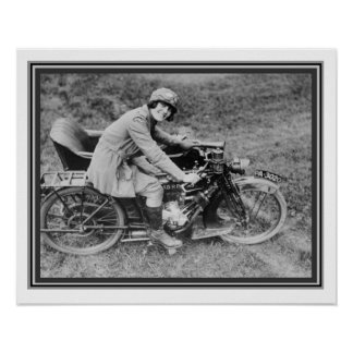 Vintage B & W Photo Girl on Motorcycle 16 x 20 Poster