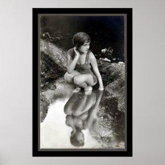 Vintage B/W Pinup Photo Print