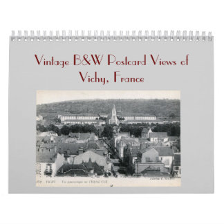 Vintage B&W Postcard Views of Vichy France Calendar