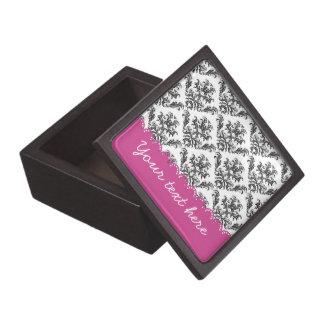 Vintage B&W with pink stripes Cajas De Regalo De Calidad