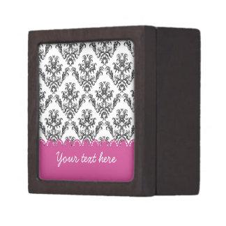 Vintage B&W with pink stripes Caja De Recuerdo De Calidad