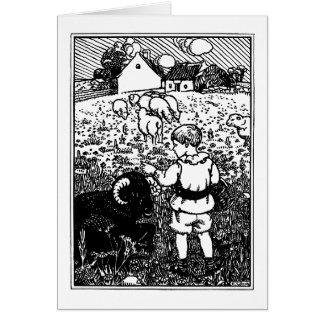 Vintage Baa, Baa, Black Sheep Rhyme Card
