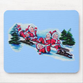 Vintage Babies in Santa Suits Mouse Pad
