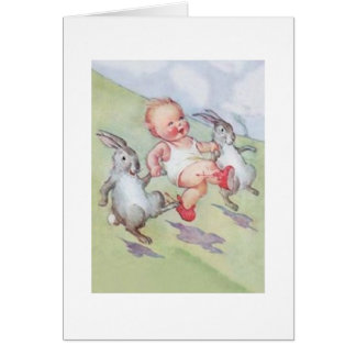 Vintage Baby And Easter Bunnies Easter Card