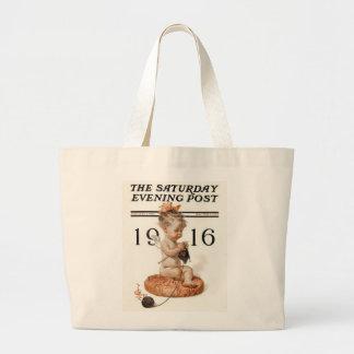 Vintage Baby Angel Knitting Large Tote Bag