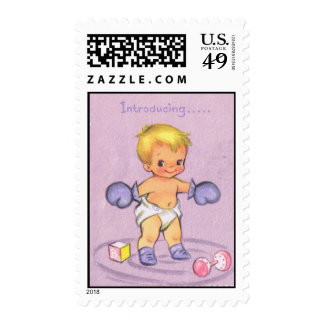 Vintage Baby Announcement/Boxing Gloves Stamps