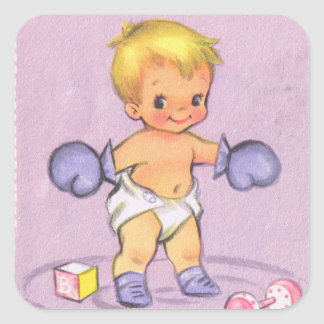 Vintage Baby Announcement/Boxing Gloves Square Sticker