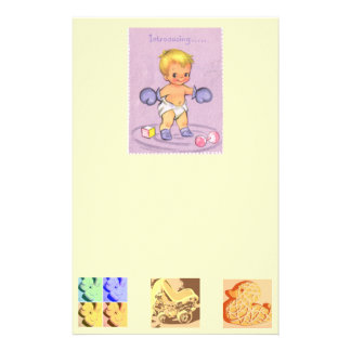 Vintage Baby Announcement/Boxing Gloves Stationery