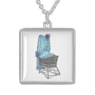 Vintage Baby Bassinet Blue Necklace