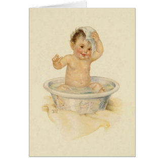 Vintage Baby Bath Note Card
